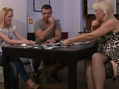 Pussy playing after strip poker with his mom