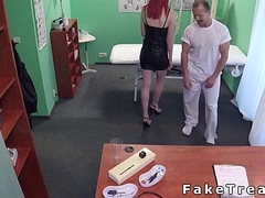 Pale redhead licked wide fake polyclinic