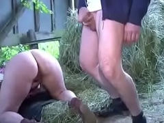 German Milf Mom and Dad Fuck Outdoor exposed to farm