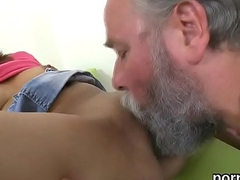 Lovesome college girl receives tempted and screwed by her older dominie