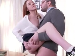 Kissable schoolgirl was tempted and fucked by her older teacher