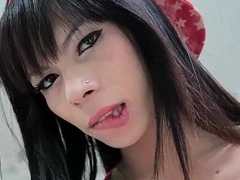 Shemale cutie delights cock with her mouth