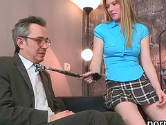 Kissable bookworm was seduced and banged by her senior schoolteacher