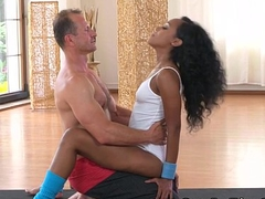 Big booty ebony babe fucks their way coach at the gym