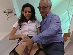 Euro slut jerks for cum