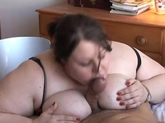 Beautiful broad in the beam tits BBW gives an amazing sloppy blowjob