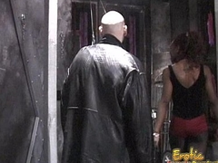 Slim ebony dominatrix enjoyments a horny dude in the dungeon