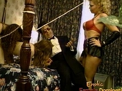 Blonde ties up two horny slags with the result of a stud
