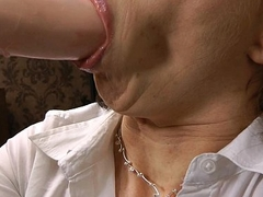 Mature secretary quaking from big brutal anal dildo