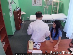 Doctor licking and fucking nurse in lingerie